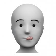 Imagen de una persona relamiéndose