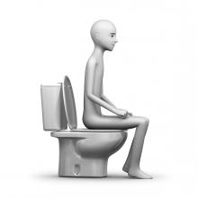 Imagen donde una persona hace caca en un váter