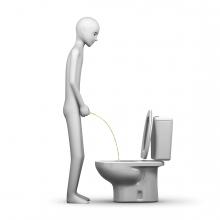 Imagen donde una persona hace pis en un váter