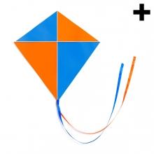 Imagen en la que se ve una cometa azul y naranja