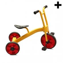 Imagen en la que se ve un triciclo en perspectiva lateral