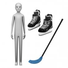 Imagen en la que se ve el concepto jugador de hockey hielo