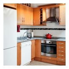 Imagen en la que se ve una cocina compuesta de frigorífico, lavavajillas, campana, horno, fregadero y placa vitrocerámica
