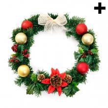 Imagen en la que se ve el plural del concepto corona de flores de Navidad