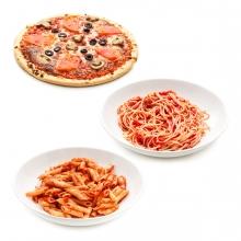 Imagen en la que se ven tres alimentos hechos con pasta: pizzam espaguetis y macarrones