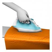 Imagen en la que aparece una mano planchando una tela