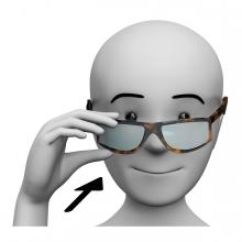 Imagen de una persona poniéndose la gafas