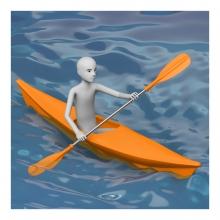 Imagen en la que una persona está remando con una piragua