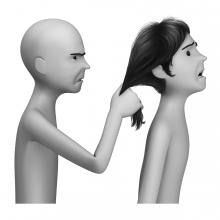 Imagen del verbo tirar del pelo