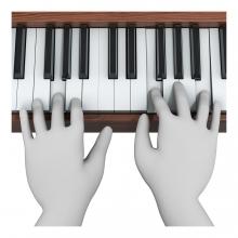Imagen del verbo tocar el piano