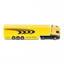 Imagen en la que se un camión amarillo con remolque en perspectiva lateral