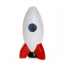 Imagen en la que se ve un cohete en perspectiva frontal