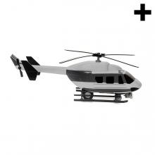 Imagen en la que se un helicóptero en perspectiva lateral