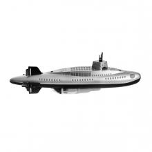 Imagen en la que se ve un submarino en perspectiva lateral