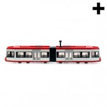 Imagen en la que se puede ver un tranvía con dos vagones en perspectiva lateral