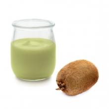 Imagen en la que se ve un yogur de kiwi