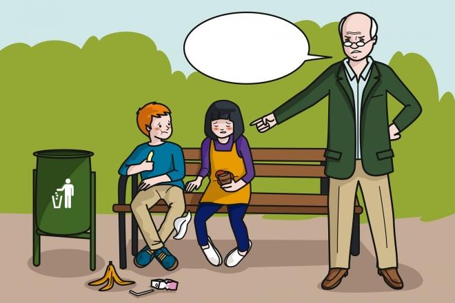 Los niños tiran la basura al suelo y el abuelo les llama la atención