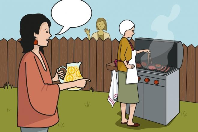 Mamá invita a la vecina a la barbacoa