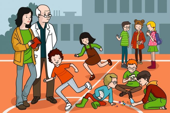 Los niños juegan en el patio del colegio