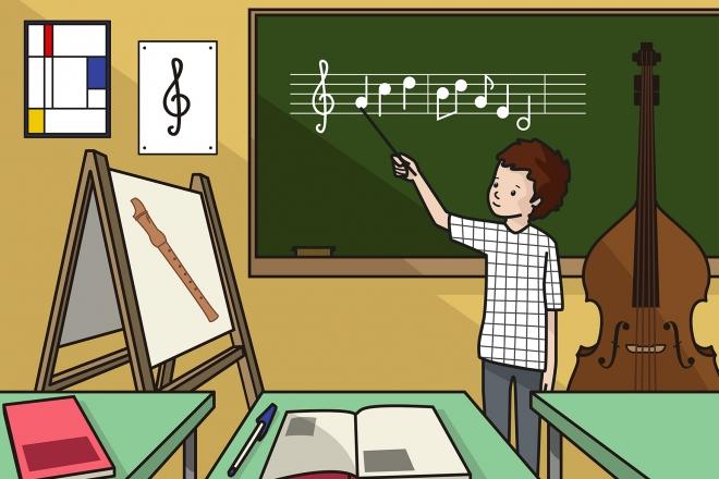 El niño está en la clase de música