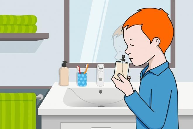 En la escena, se observa un niño oliendo un frasco de colonia en el cuarto de baño.