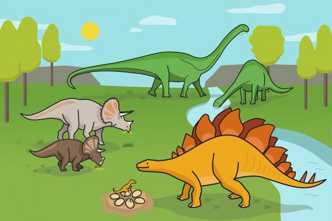 Ilustración en la que aparecen diferentes dinosaurios herbívoros