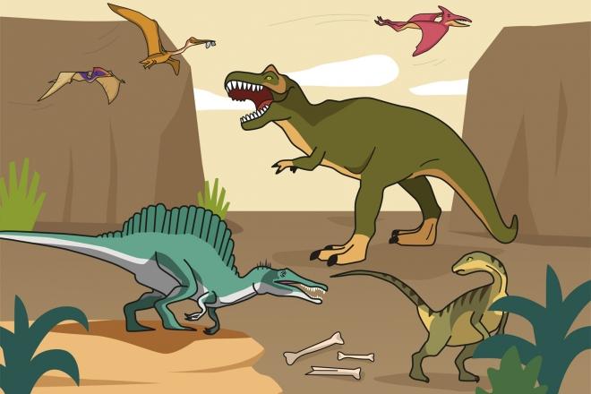 Ilustración en la que aparecen diferentes dinosaurios carnívoros