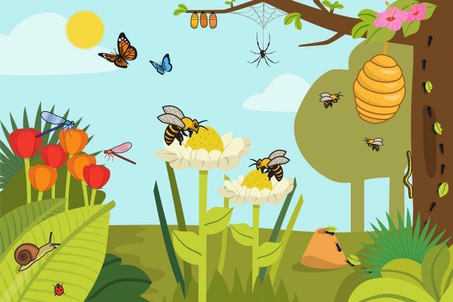 Escena en la que se ven varios insectos en el campo