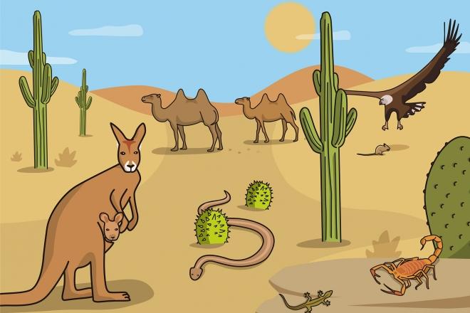 Escena en la que se ven varios animales salvajes en el desierto