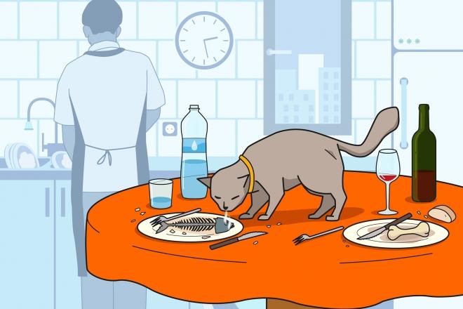 En la escena, podemos observar un gato encima de la mesa y oliendo la espina de un pescado recién comido. Al fondo, vuelto de espaldas, el padre lava la vajilla y los cubiertos en el fregadero tras la comida. Se observan también otros alimentos, bebidas y utensilios utilizados durante la comida.