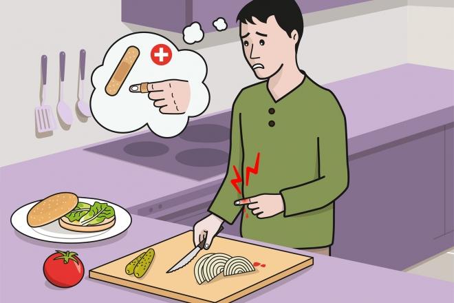 Escena en la que se ve a un hombre que se ha cortado un dedo preparando una hamburguesa