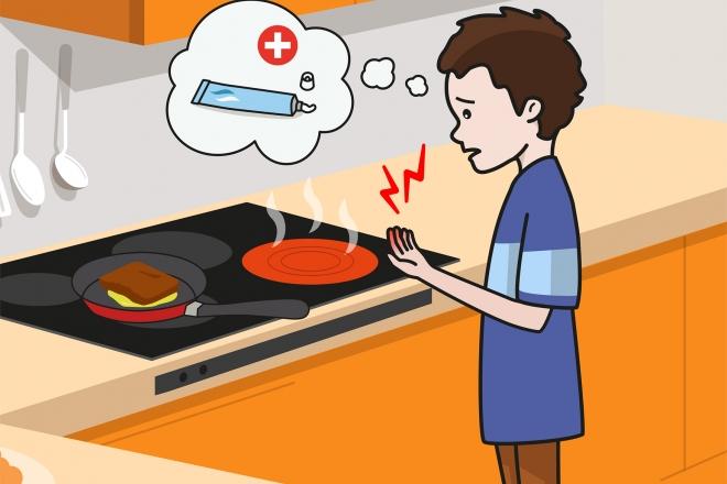 Escena en la que se ve a un niño que se ha quemado una mano con el fuego de la cocina