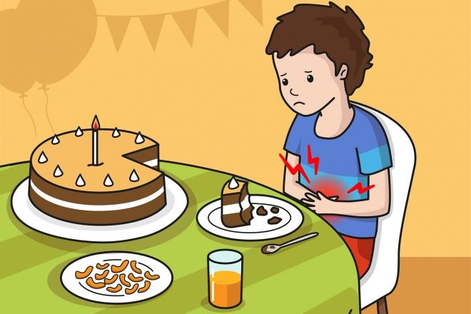 Imagen en la que se ve a un niño que le duele la tripa después de haber comido mucha tarta