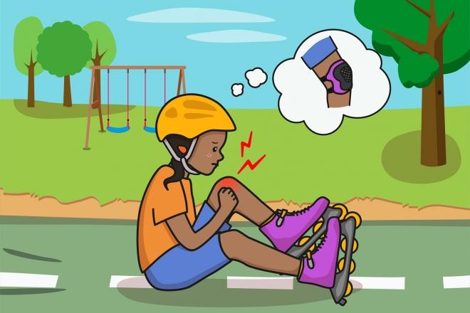 Imagen en la que se ve a una niña con dolor en la rodilla después de haberse caído con los patines
