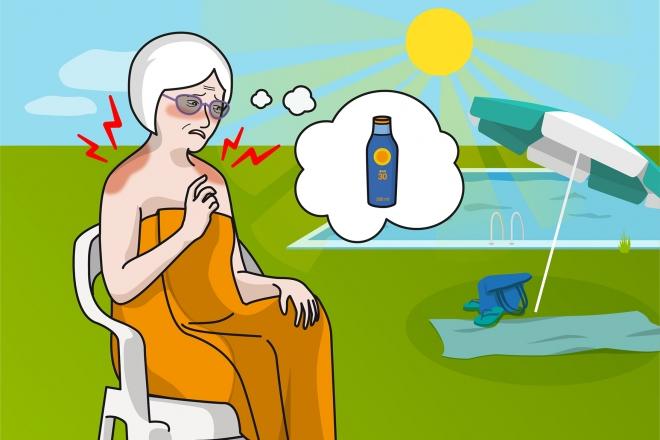Imagen en la que una abuela está sentada en una piscina y se ha quemado la espalda con el sol