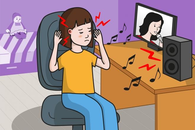 Imagen en la que una niña se queja de un dolor de oídos con el volumen de la música