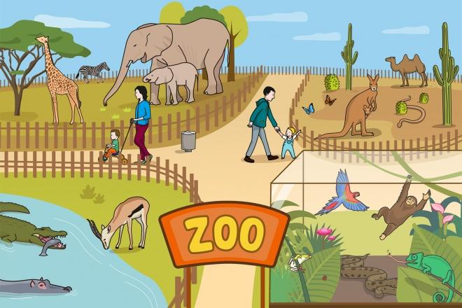 Escena en la que se ve un zoológico y sus animales
