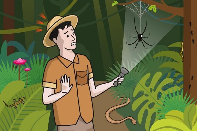 Escena en la que se ve a un explorador que se ha dado un susto con una araña