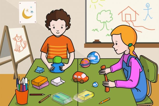 Escena en la que se ven dos niños haciendo formas con la plastilina