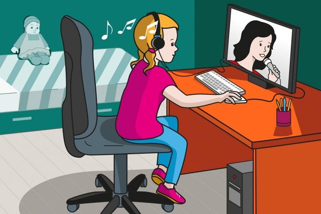 En la escena, se observa a una niña delante del ordenador y escuchando un vídeo de una cantante con los cascos colocados en la cabeza.