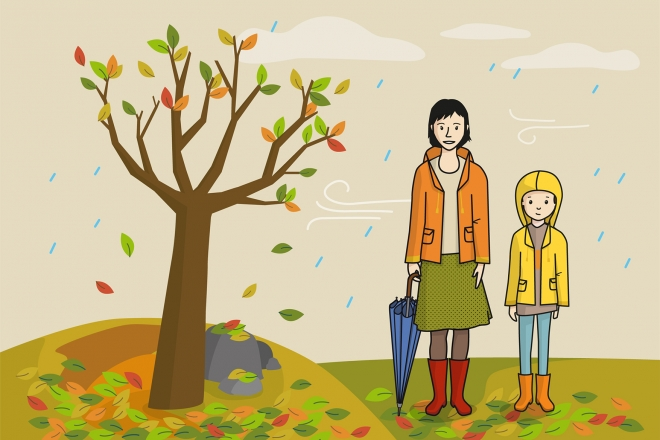Escena que representa el otoño