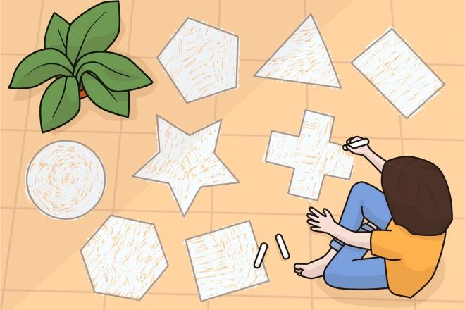 Imagen en la que un niño está dibujando formas geométricas
