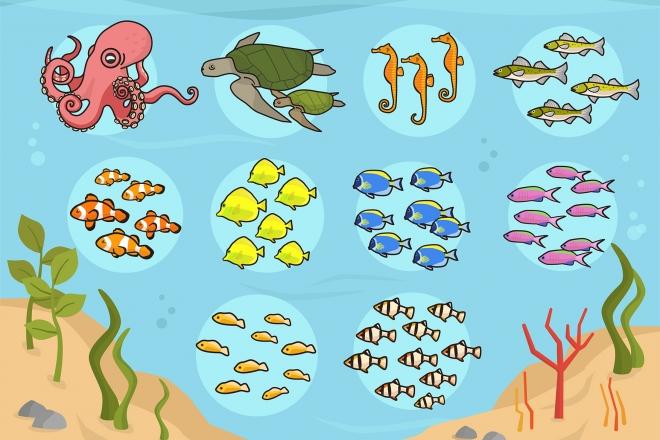 Imagen del fondo marino con diferentes agrupaciones de peces ordenados por números