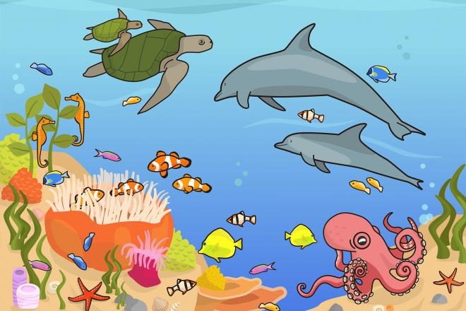 Escena del fondo submarino en la que se ven diferentes animales