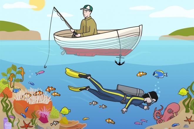 Escena marina en la que se ve a un hombre pescando y a una mujer buceando