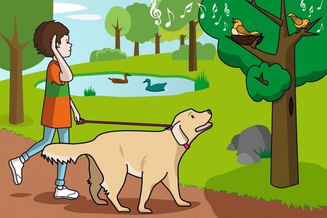 En la escena, se observa al niño con el perro escuchando cantar a unos pájaros que están sobre una rama en un árbol del parque.
