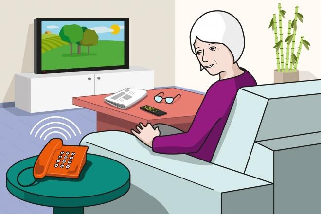 En la escena, se observa a una persona mayor sentada en un sillón del salón, que gira la cabeza hacia el teléfono que está sonando.