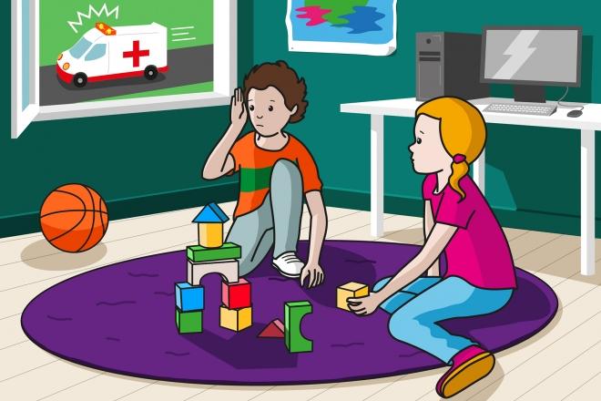 En la escena, se observa a un niño y a una niña jugando en la alfombra de su cuarto, y en actitud de escucha hacia el sonido que produce la sirena de una ambulancia que circula por la calle