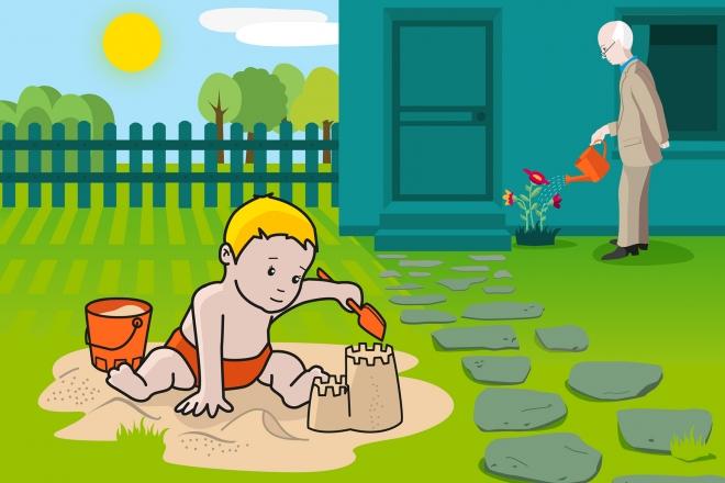 En la escena, se ve a un bebé jugando con la pala y el cubo en la arena del jardín de su casa. Al fondo, una persona mayor está regando las plantas.