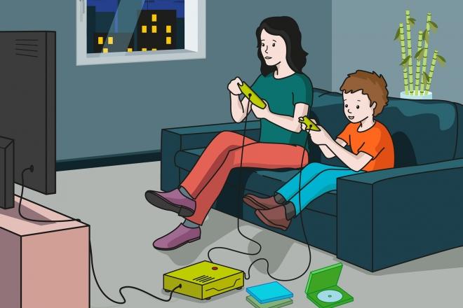 En la escena, se observa a un niño y a su madre, sentados en el sofá frente a la televisión, jugando a la videoconsola.